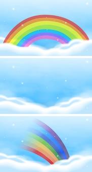 Scena del cielo con un bellissimo arcobaleno