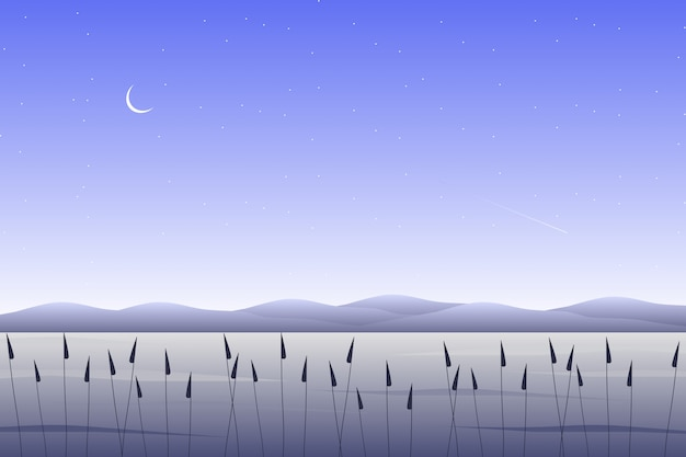Sky and sea landscape illustration