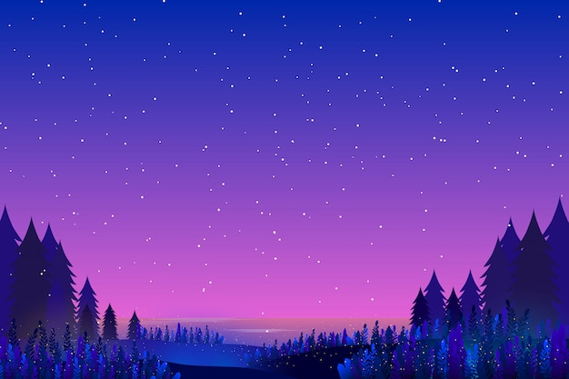 Sky and sea starry night background