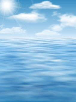 Sky sun and water surface background