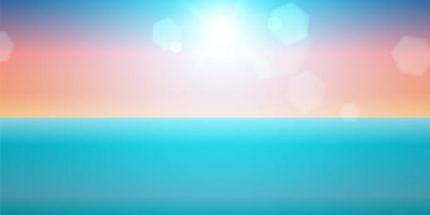 スカイサンセット。海の太陽。海夏の背景。