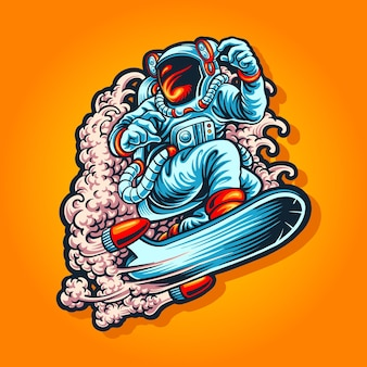 Sky surf with astronaut suit illustration