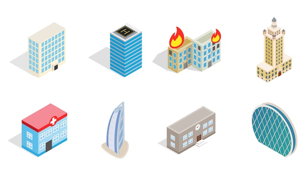 Sky tower icon set on white background