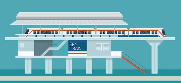 Sky train station flat design illustration background