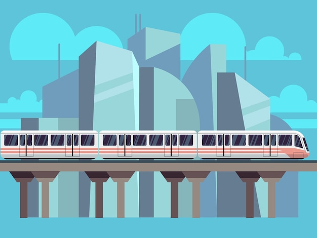 Sky train subway landscape flat concept