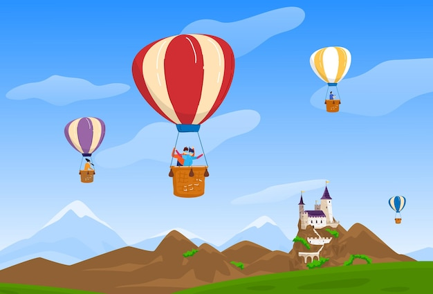 空の旅行ベクトルイラスト人々男性女性キャラクター気球旅行幸せなカップルが城の自然の風景の近くを飛ぶ