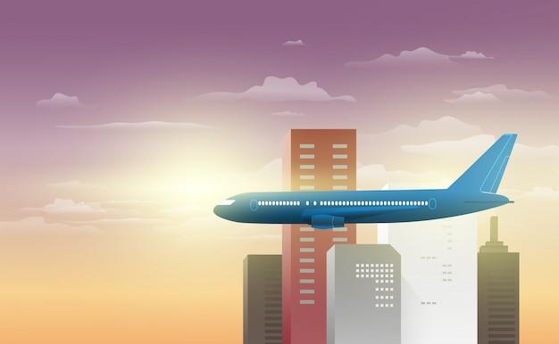 Sky view of a plane through a city