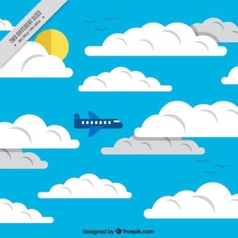 비행기 배경으로 하늘