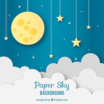Sky with clouds and moon background in paper texture