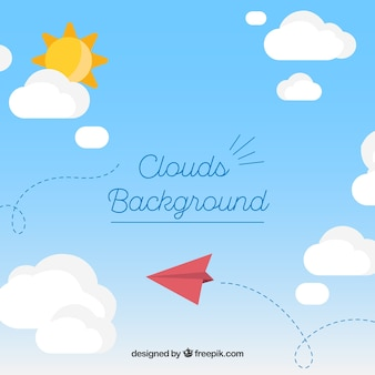 Sky with clouds and paper plane background in flat style