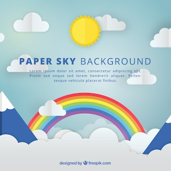 Sky with clouds and rainbow background in paper texture
