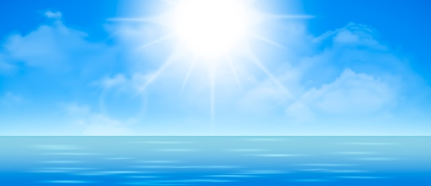 Небо с облаками и отражение света в водной глади, романтическая фантазия на фоне естественной сцены. иллюстрации шаржа