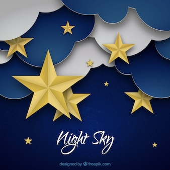 Sky with clouds and stars background in paper texture