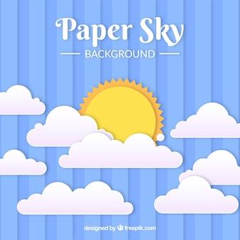 Небо с облаками и солнцем фон в текстуре бумаги