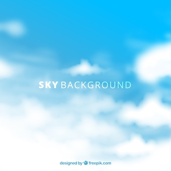 Sky with clouds background in flat style