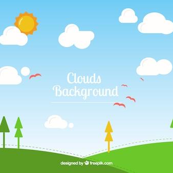 Небо с облаками фон в плоском стиле