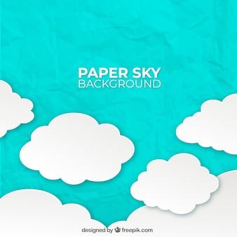 Небо с облаками фон в стиле бумаги