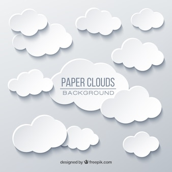 Sky with clouds background in paper texture