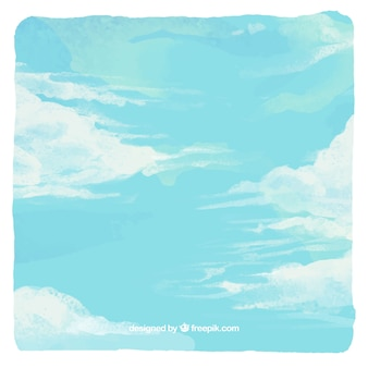 Sky with clouds background in watercolor style