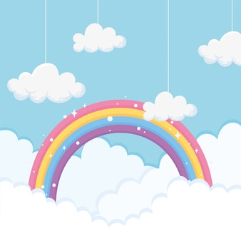 Sky with clouds and bright rainbow