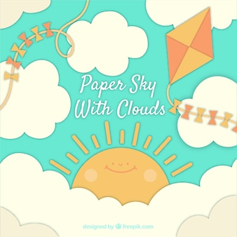 Sky with clouds and cute sun background in paper texture