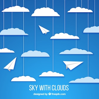 Sky with clouds in paper style