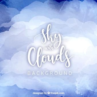 구름 수채화 배경으로 하늘