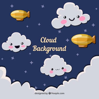 Sky with cute clouds background