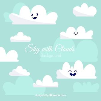 かわいい雲の背景で空