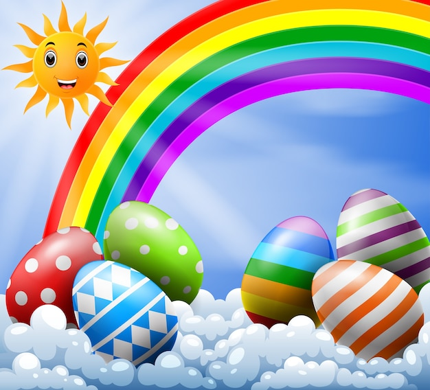 Sky with easter eggs near the rainbow