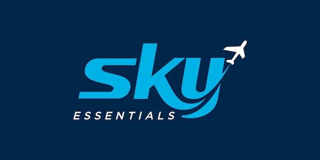 飛行機と航空会社のロゴのベクトルテンプレートと空。旅行ラベル、観光、旅のポスターに適しています