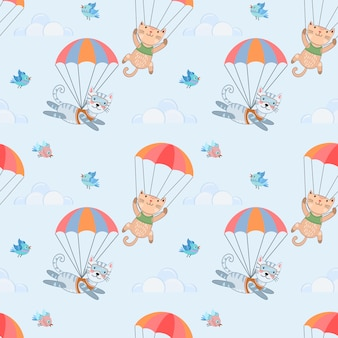 Skydiver cat seamless pattern.