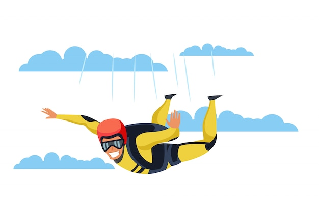 Skydiver  character, parachutist flying through clouds, extreme activities