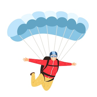 スカイダイバーが孤立しました。のんびりと白い背景で隔離の落下傘兵、空のパラシュート男、パラシュートライフスタイルレジャー活動と人々の冒険、ベクトル図