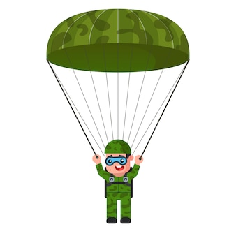 Skydiver in khaki military uniform illustration