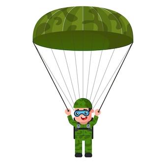 Skydiver in khaki military uniform illustration