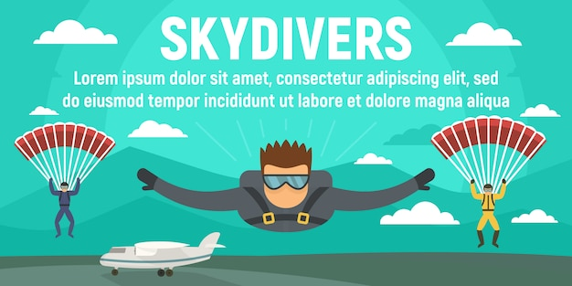 Skydivers concept banner template, flat style