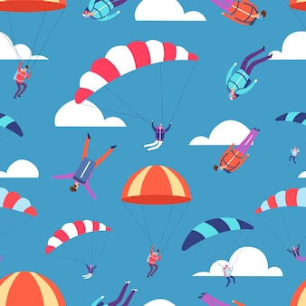 Skydivers, jumpers in sky  seamless pattern