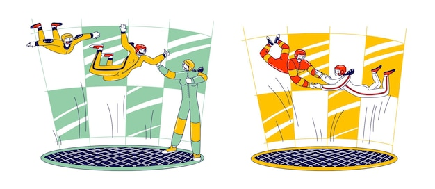 Skydivers male and female characters in indoor wind tunnel training, free fall simulator. extreme sport experience with coach help. people flying experiment, leisure relax. linear vector illustration