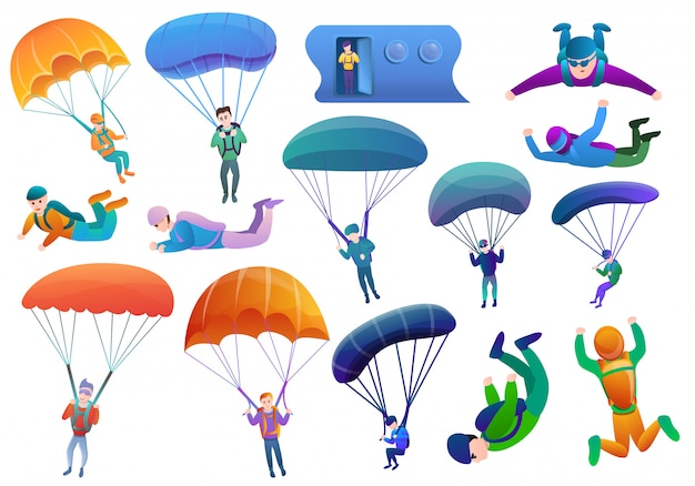Skydivers set, cartoon style