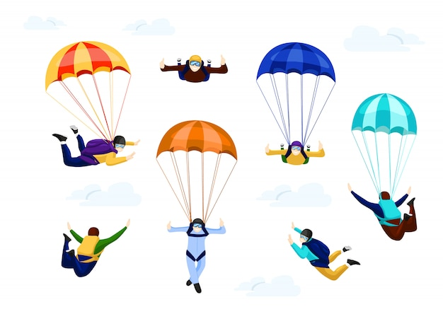 Skydivers set on parachute