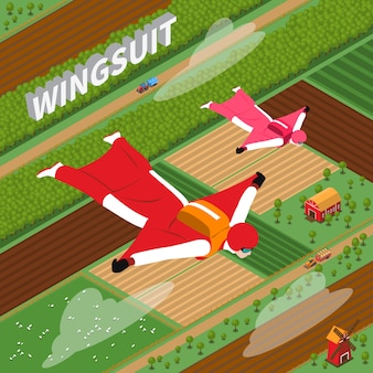 Skydivers in wing suit isometric illustration