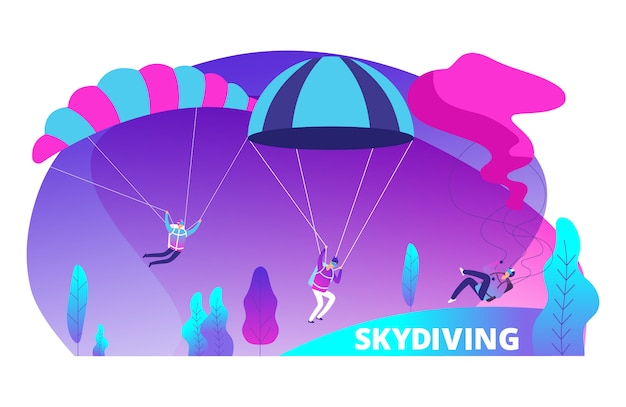 Skydiving  background with cartoon jumpers colored