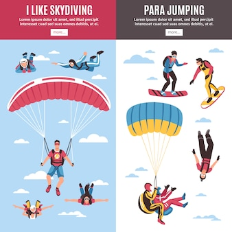 Skydiving banners set