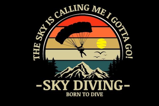 Прыжки с парашютом рождены для дайвинга цвет оранжевый желтый и зеленый