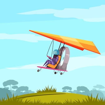 Skydiving extreme sport adventure flat abstract  with glider pilot flight  before landing landscape