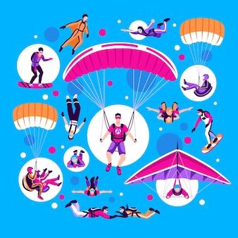 Paracadutismo e paracadutismo impostato su sfondo blu piatto illustrazione vettoriale isolato