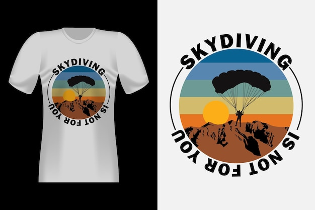 Прыжки с парашютом с силуэтом винтажный ретро дизайн футболки