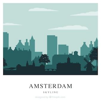 Skyline of amsterdam in green tones