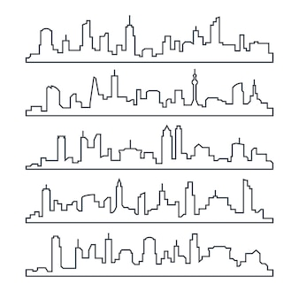 Skyline city. building line of town. outline urban cityscape set isolated
